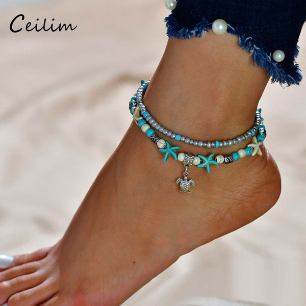 Tortoise Pendant Anklet Beads Starfish For Women Antique Silver Color Vintage Barefoot Sandal Statement Bracelet Foot Chain Boho Jewelry
