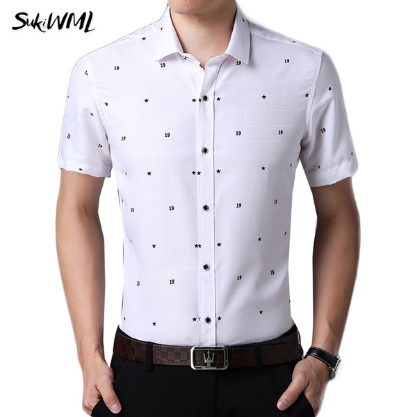 wholesale Men Shirt 2018 New Summer Business Casual Shirts Slim Fit Brand Clothing Plaid Camisa Masculina Plus Asian Size M-4XL