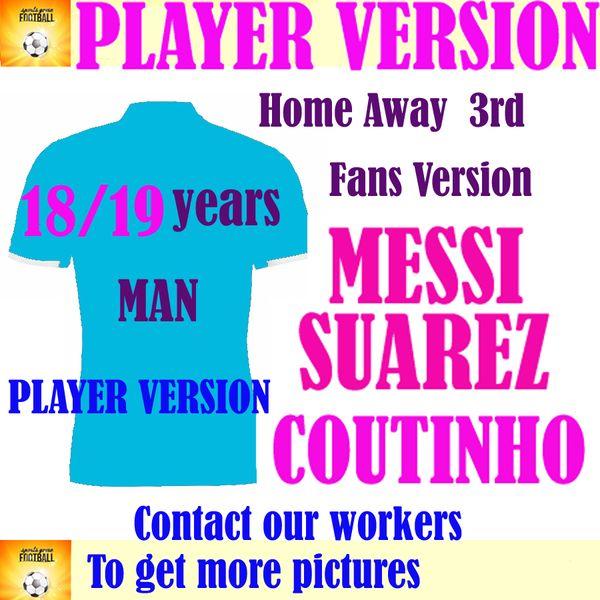 Player Version 2019 MESSI Home Soccer Jersey 18/19 #7 COUTINHO Away Soccer Shirt Customized #11 O.DEMBELE #9 SUAREZ Club Football Uniform