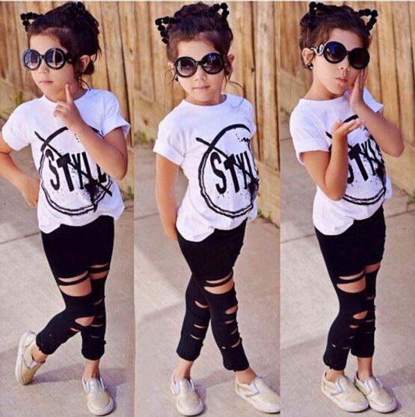Hot Sale! 2018 INS Kids Girls Clothes Set Baby Girl Summer Short Sleeve Print T-Shirt + Hole Pant Leggings 2PCS Outfit Children Clothing Set