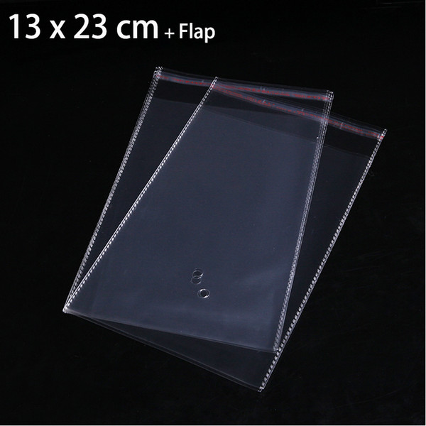 50pcs 13 x 23cm Clear Self Adhesive Seal Plastic Bags For Jewelry Package Resealable Poly OPP Packaging Bag