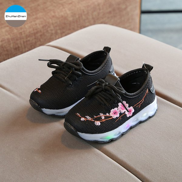 2019 1 To 5 Years Old LED Lights Baby Girls Glowing Sport Shoes Flowers Soft Bottom Casual Shoes Children Sneakers Non-Slip