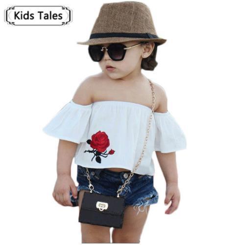 Summer Suits for Girls Fashion Rose Shirt + Shorts 2 Pcs. Sets of Floral Children's White Tops Jeans Shorts Kids ClothesST300