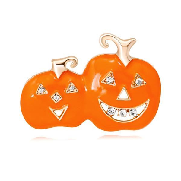 Broche Halloween émail broche broche strass Spookie citrouille broche bijoux émail broches broches pour les femmes or