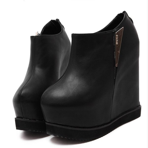 446fcc68a506 14cm High Heels Boots Black Fashion Platform Ankle Boots Women Casual Round  Toe Wedges Shoes sexy