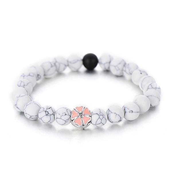 À la mode Blanc Noir Couleur Simple Brin Bracelets Pour Femmes Mignon Rose Émail Fleur Perlé Bracelet Amitié Cadeaux Vente Chaude