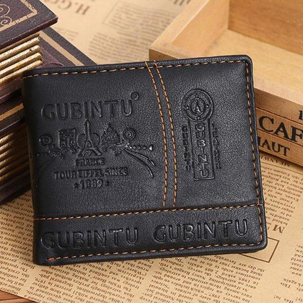 Transer Negocio simple Hombres Paris Leather Card Recibo de efectivo Holder Organizador Bifold Wallet Purse Black drop shipping B6