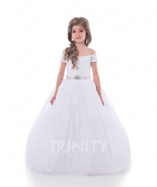 Schönheits-weiße Spitze weg von der Schulter-Schärpe-Blumenmädchenkleider-Prinzessin-Kleider-Mädchen-Festzug kleidet nach Maß Größe 2-6 8 10 12 14 KF327250