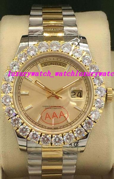 Relógios de luxo 2 Estilo Dois Tons 41mm Mens 18k Ouro Amarelo Diamante Dial / bisel Automático Marca de Moda Relógio de Pulso dos homens