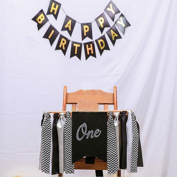 schwarz gold alles Gute zum Geburtstag Banner Fahnen handgemachte erste Geburtstag Dekorationen Sackleinen Hochstuhl Banner Fahnen für den 1. Geburtstag Baby Jungen Mädchen