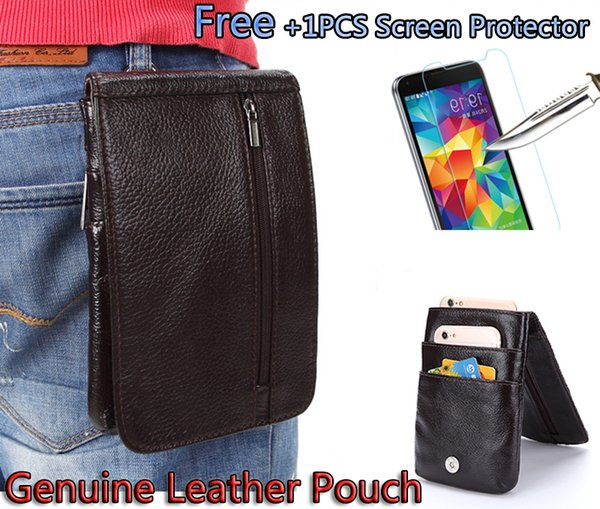 Luxury Genuine Leather Vertical Waist Bag case For Blackview BV8000 Pro Belt Clip Pouch Holster Cover capa + Tempered Glass