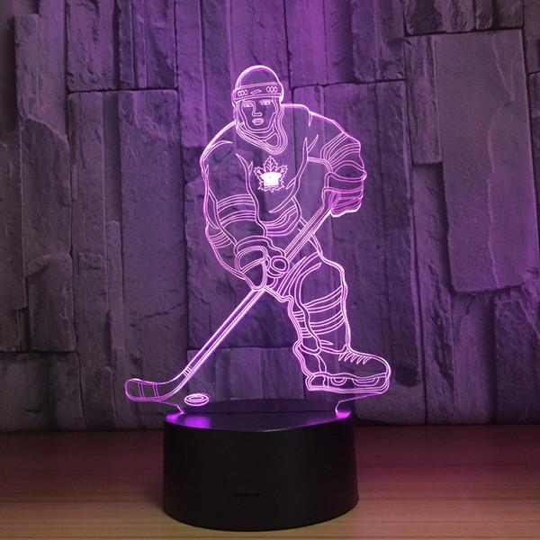 Dropshipping Wholesale Dropshipping della batteria quinta di notte della CC 5V USB della luce di notte della lampada di illusione del giocatore 3D della palla di ghiaccio del hockey