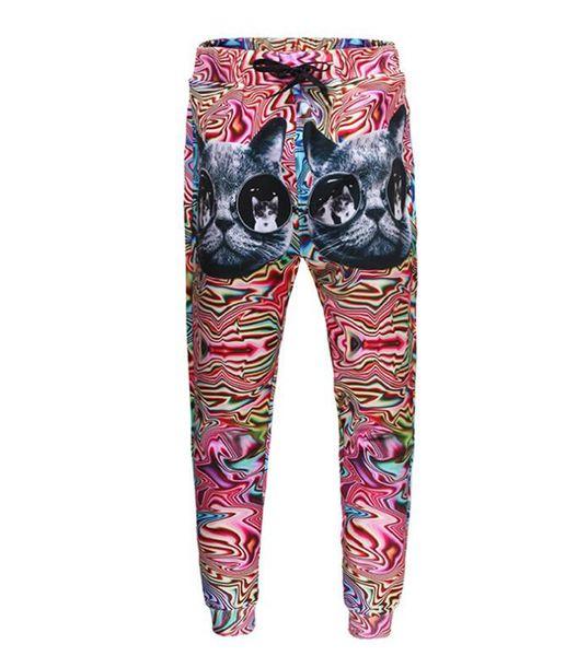 Las tendencias de la moda europea, americana y coreana de los hombres personalidad Slim cristales digitales patrón de gato 3D pantalones impresos / S-XL