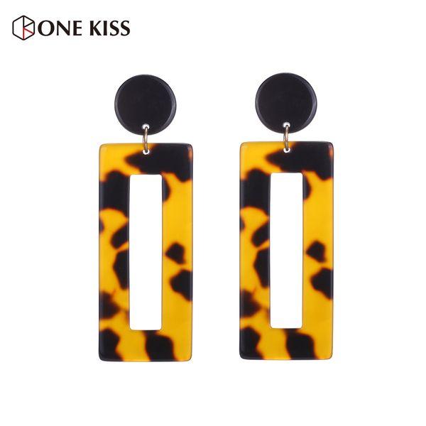 Vintage Geometric Long Square Acrylic Drop Earrings For Women Leopard Print Rectangle Statement Dangle Resin Jewelry 2018