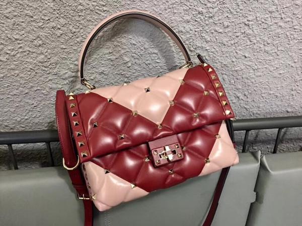 Woman rivet stud spike genuine leather shoulder bag handbag tote