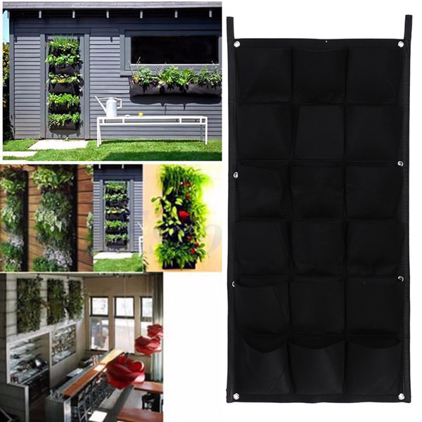 18 Pocket Flower Pots Planter On Wall Hanging Vertical Felt Gardening Plant Decor Green Field Grow Container Bags Outdoor