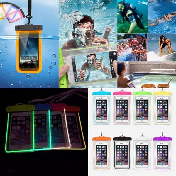 Luminosa bolsa à prova d 'água universal bolsa subaquática caso mergulho mergulho bolsa de mergulho no escuro caso de iluminação para iphone 6 7 8 plus x novo