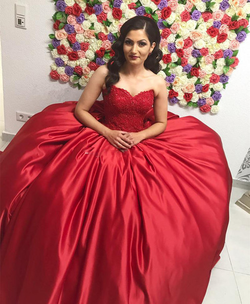 Compre Vestido Rojo Encaje Satén Vestidos De Quinceañera Novia Corsé Sin Tirantes Vestido De Bola Vestidos De Baile Dulces Por Encargo 16 Vestidos A