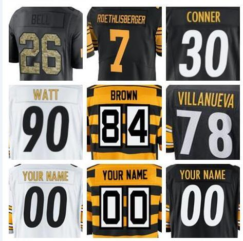 new products eb20f 077aa 2019 2018 Pittsburgh Antonio Brown Steeler Jersey Custom James Conner  Le'Veon Bell Authentic Sports Youth Kids American Football Jerseys Shirts  From ...