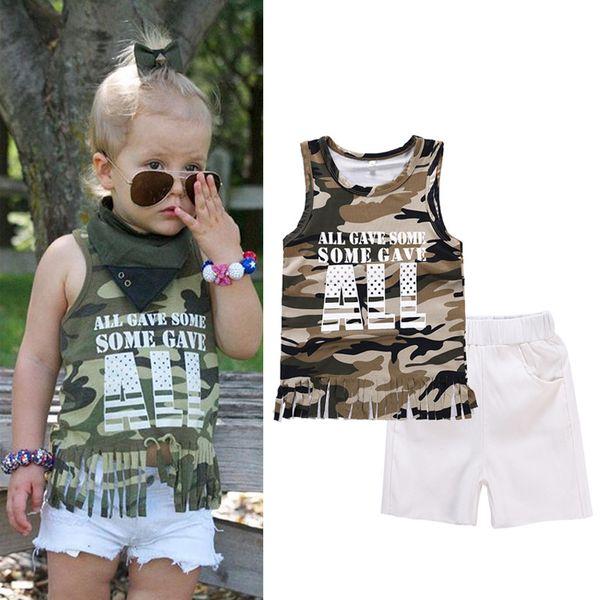 Baby-Mädchen-Kleidungs-Satz-Mädchen-Tarnungs-Weste-T-Shirts + weiße kurze Hosen 2Pcs stellte Sommer-Kindersleeveless T-Shirts 2018 Hosen-Klagen ein