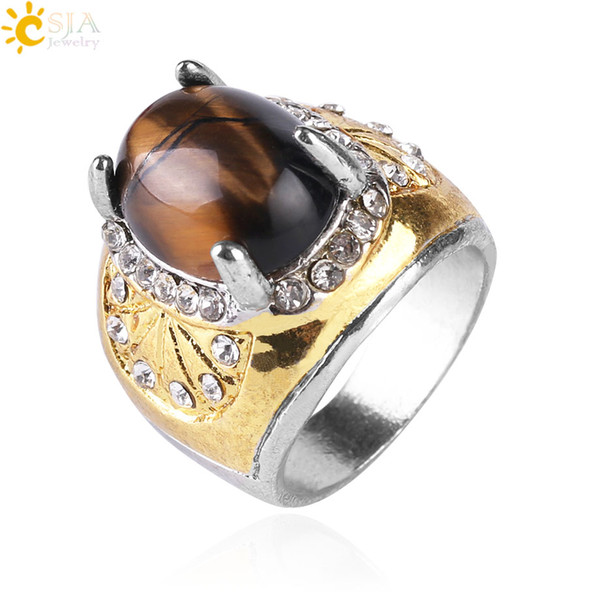 CSJA Tiger Eye Cabochon Rings Sector Carved Sparkling CZ Diamond Beads Jewelry Natural Gems Stone Gift for Men Women 10PCS Wholesale S112