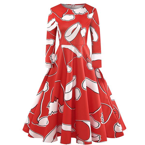 1029-6 O Neck Printing Vintage Gown Evening Party Dress Autumn winter print dress retro knee-length