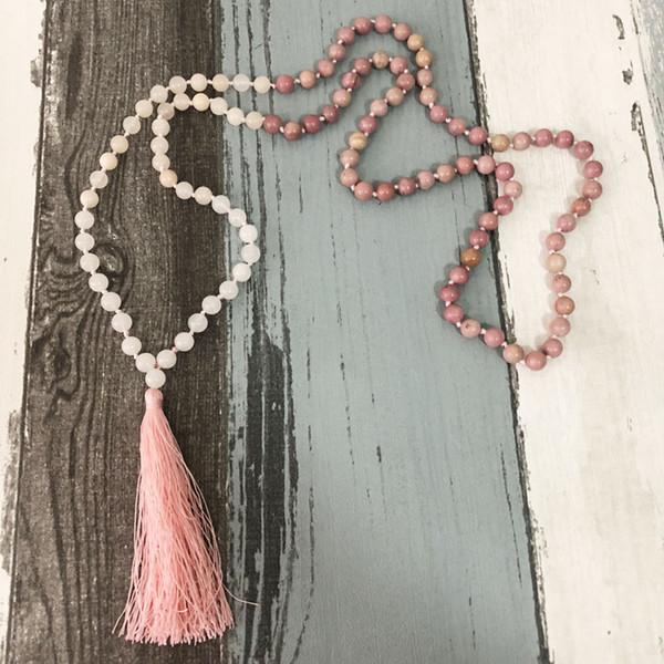Liebe Rhodochrosite Rose Q-Uartz Schnee Q-Uartz Meditation Perlen Mala Halskette mit Quaste 108 Perlen Handgeknüpfte Halskette