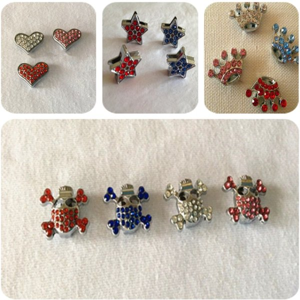 10mm Diamond Charms Heart Crown Skull Rhinestone DIY Dog Tag ID Card Fit Pet 10mm Collar Necklace Mix Order Mix Color 100PCS/LOT