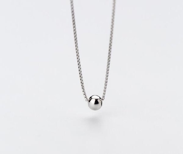(Very Small Tinny 4mm )1pc 100% Real. 925 Sterling Silver Fine Jewelry Polished Round Beads Necklace Pendant GTLX1593