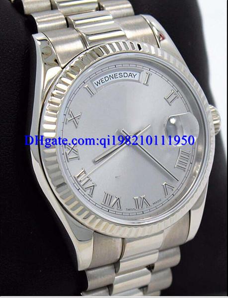 Regalo de Navidad para hombre reloj Presidente 118239 18K oro blanco plata romana reloj 36mm vestido estilos