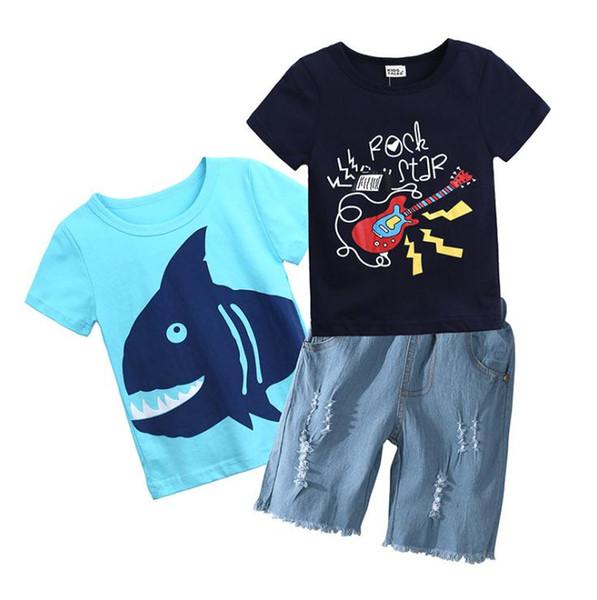 3PCS Set Baby Boys Clothes Summer Toddler Kids T shirt Tops+Denim shorts Pants Outfits Children Boy Clothing Set