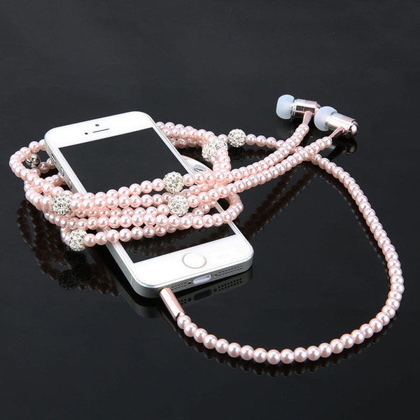 Fashionable Jewelry pearl Necklace Earphones Mic Beads 3.5mm In-ear Headphone With Mic For Iphone Samsung