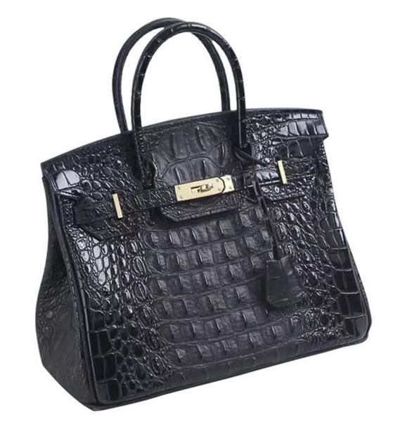 Großhandel Top Qualität 2019 Neue Echtleder Krokodilknochen Damen Platin Handtasche Kuhfell Frau Schulter Messenger Tasche Totes Von Hot_bags, $130.97