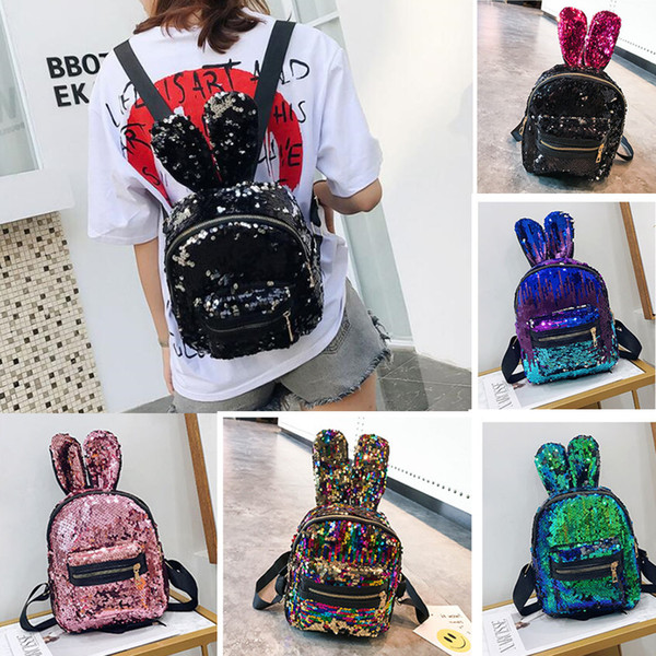 best selling DHL Little Girls Gift Mini Rabbit Ear Shining Sequins Backpack Cute School Bags Fashion Women Travel Small Backpacks Shoulder Bags 8 Color
