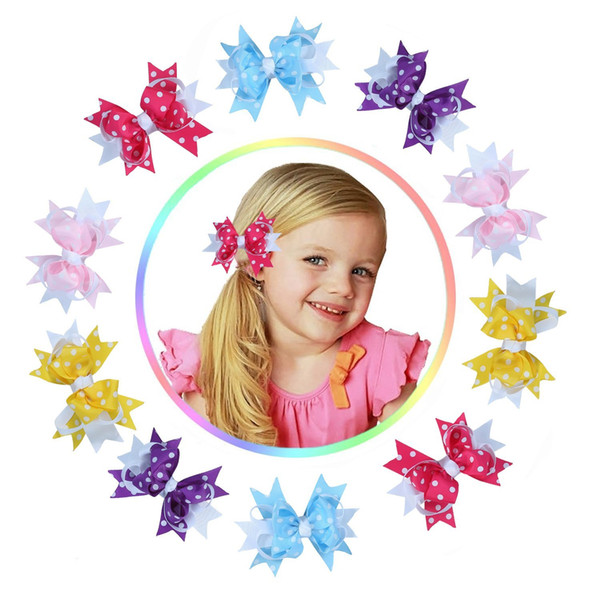 15pcs Hot Sale Flower Hair Clip Kids Bow Headdress Cartoon Head Barrettes Princess Hair Accessories Child hairpin HC043