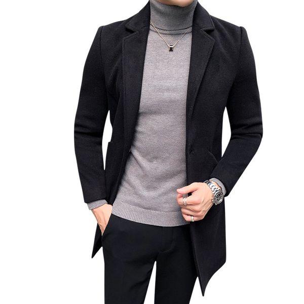 offizieller Preis neues Erscheinungsbild perfekte Qualität Großhandel Hohe Qualität 2018 Winter Schwarz Herren Mantel Single Button  Koreanischen Stil Slim Fit Wollmischungen Trenchcoat Männer Casual Lange ...
