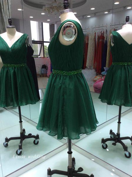Freies Verschiffen-reales Foto-Jägergrün-Abschlussball-Kleid wulstiges backless kurzes Cocktail-Heimkehr-Abend-Party-Kleid nach Maß plus Größe