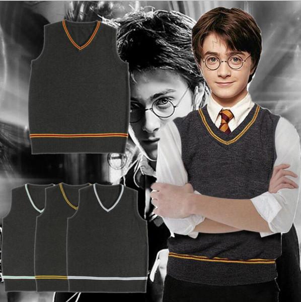big child Harry potter Sweater Vest Slytherin Gryffindor Ravenclaw Cosplay Costume men women uniform sweater LJJK1044