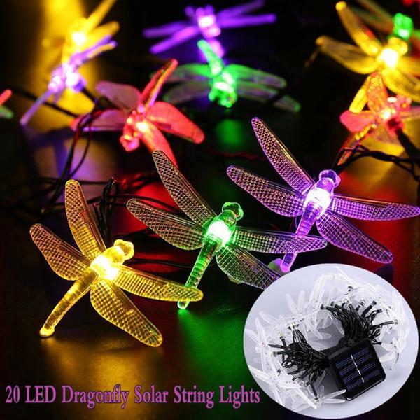 Acheter Éclairage Extérieur De Jardin Multicolore Libellule Libellule 20  LED Solaire Guirlandes De $6.04 Du Euroleague | DHgate.Com