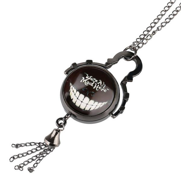 YISUYA Erkekler Kadınlar Pocket Watch Alice in Wonderland Kolye Zincir Top Şekli Steampunk Kuvars