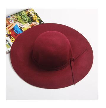 2018 Nuevo Fortín de la mujer sombrero de fieltro de ala ancha Bowler Hat Fedora Floppy Sun Bowknot cloché Cap Mujeres '; s sombrero grande 10 colores al aire libre