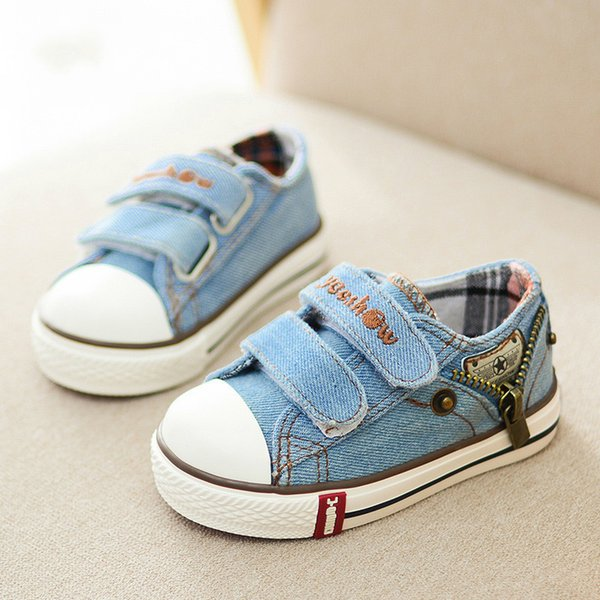 2018 children canvas shoes fashion sneakers denim baby flat shoes kids comfortable sports shoes