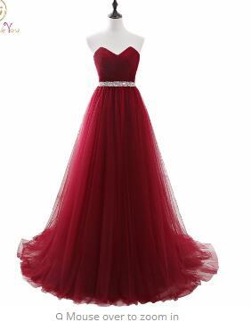 Images Elegant Dress Women for Wedding Party Burgundy Sweetheart Long Dresses Evening Wine A-Line vestidos mae de noi