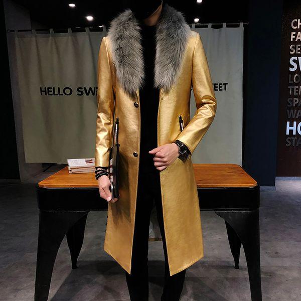 2018 Casacos De Trincheira De Couro Preto Dos Homens Gola De Pele Grande Longo Casacos De Homens De Luxo Veste Longo Homme Casacos De Ouro Slim Fit Elegante