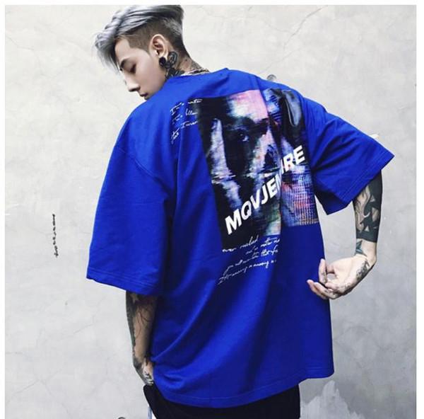 Tide brand new loose T-shirt hip-hop high street dance T-shirt half-sleeved Korean version of the five-point sleeve couple short-sleeved