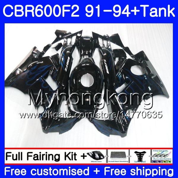 Body For HONDA CBR 600 F2 FS CBR600 F2 1991 1992 1993 1994 1MY.44 CBR600FS CBR 600F2 CBR600RR CBR600F2 91 92 93 94 Fairing Blue flames kit