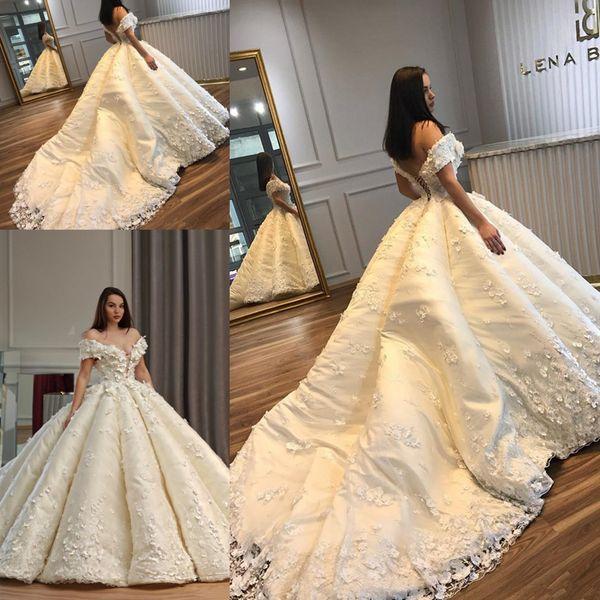 Princess Dubai Wedding Dresses With 3D Floral Applique Sexy Off Shoulder Lace-Up Ball Gown Bridal Dress Glamorous Saudi Arabia Wedding Dres