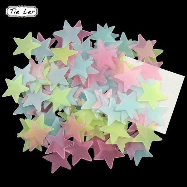 TIE LER 95 PCS/Set 3cm Diameter 3D Stars Glow In The Dark Luminous Fluorescent Plastic Wall Stickers Home Decor Decals