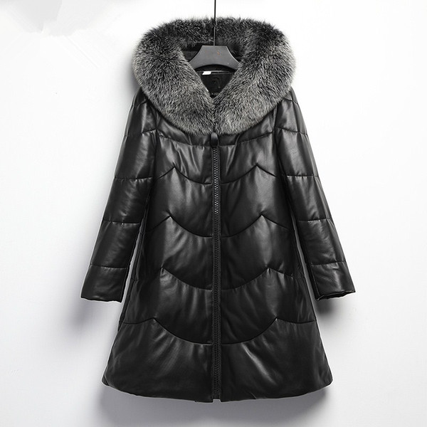 2cb1f29097bd YOLANFAIRY Geniune Leather Jacket Women Real Sheepskin Leather Winter Warm  Down Coat Fox Fur Collar Plus