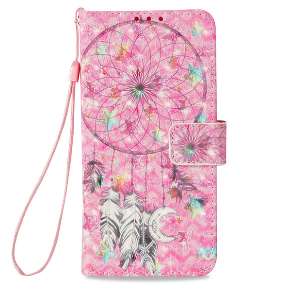 3D Skin For Huawei P20Pro/P20Plus P20lite/NOVA3E Mate10Pro Honor 9I LG K8 K10 2018 Case PU Leather Stand Wallet with 3 Rope Card Slots Cover